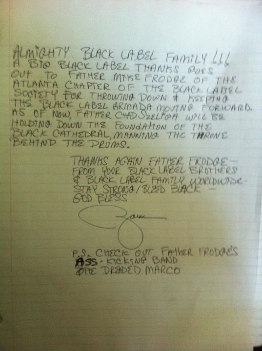 Black Label Society Note