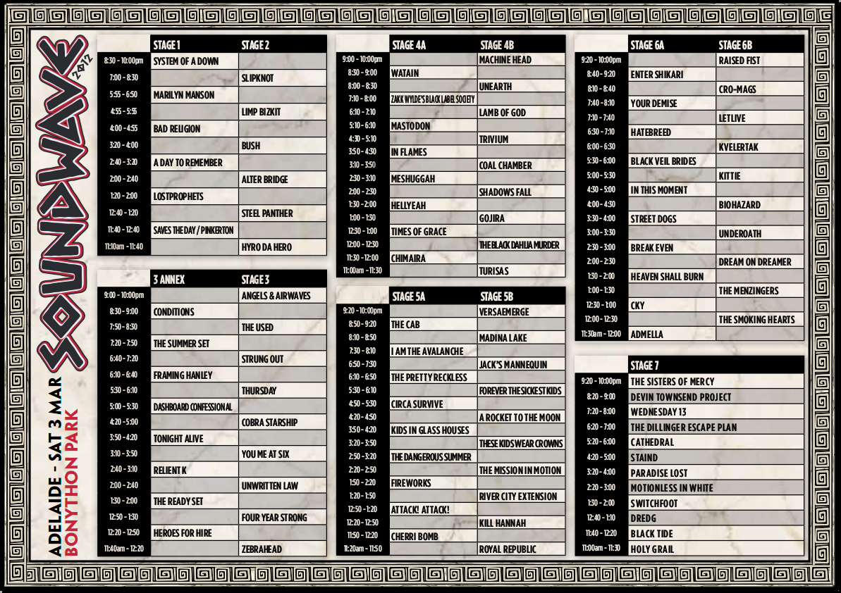 Soundwave 2012 Adelaide Timetable