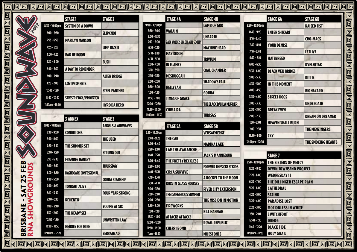 Soundwave 2012 Brisbane Timetable