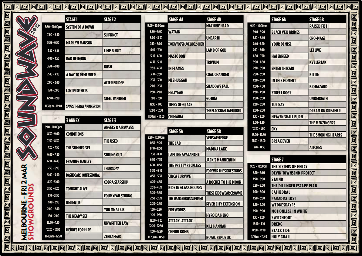 Soundwave 2012 Melbourne Timetable