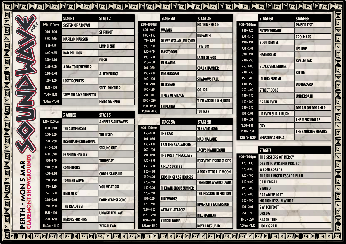 Soundwave 2012 Perth Timetable