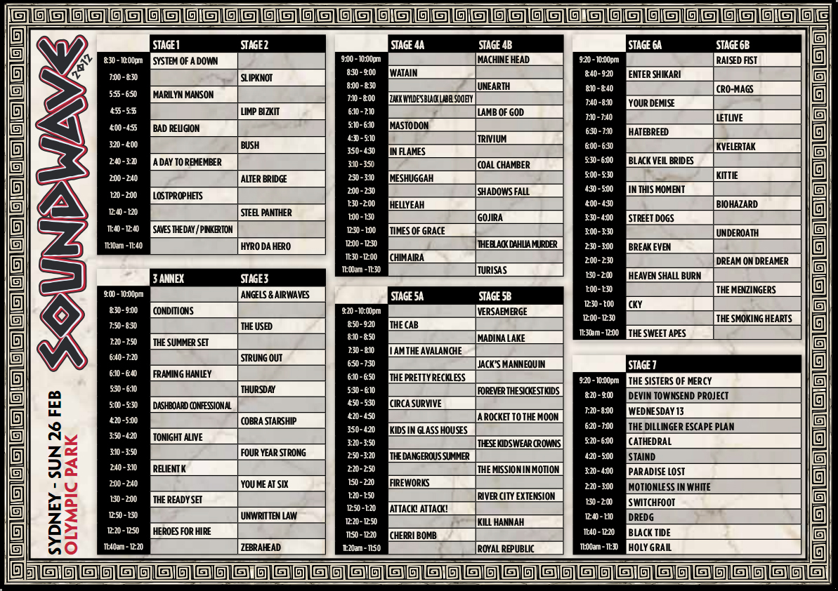 Soundwave 2012 Sydney Timetable